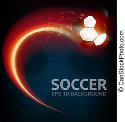 Vector Soccer Background - EPS 10 Soccer ball in flame...