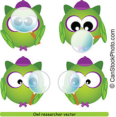 Owl researcher with magnifying glass