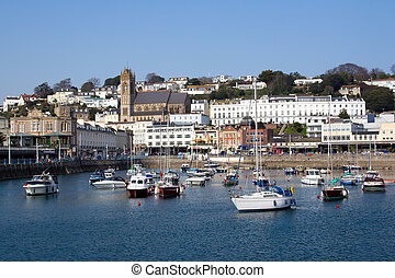 Torquay Harbour - The inner harbour at Torquay Devon England...