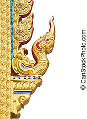 tradicional, tailandés, estilo, patrón, W