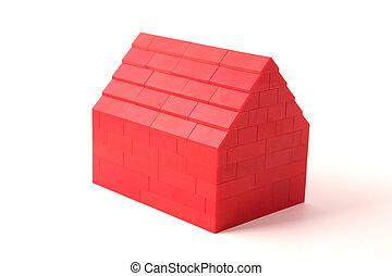 Red house with white background