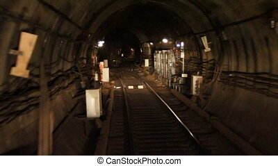 subway tunnel. - Train goes through a subway tunnel.