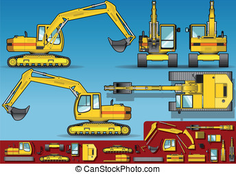 yellow excavator orthogonal - Detailed illustration of a...