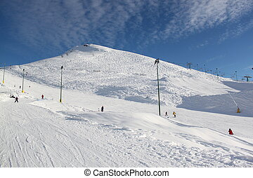 Station of ropeway. Ski resort. Italian Mountains.