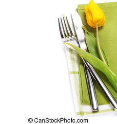spring table settings with fresh tulip