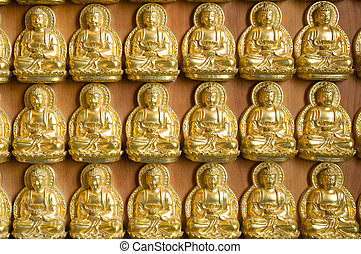 oro, Buddha, pared, chino, templo