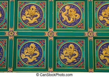 verde, oro, Plano de fondo,  dragón