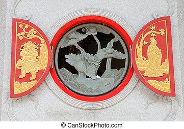 nativo, chino, Escultura, de madera
