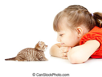 Little girl with kitten face to face lying on floor together