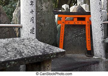 Torii gate - The small tori gate at Fushimi Inari Shrine in...