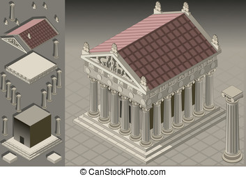 isometric Greek Temple - Detailed illustration of a Greek...