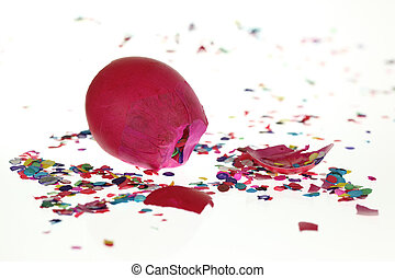 Smashed Confetti Eggshell - A stock photo of a smashed...