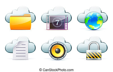 Cloud storage concept - elegant network icon set of cloud...