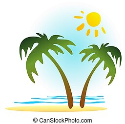 tropics paradise - Palm trees and sun on a white background....