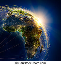 Main air routes in Africa - Highly detailed planet Earth at...
