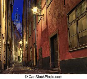 At night in the alley.