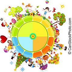 seasons of the year - vector illustration of a seasons of...