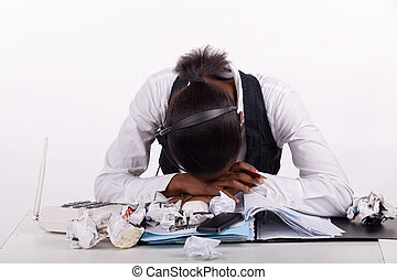 Young South African woman overwhelmed by work, telephones...