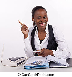 Young woman doing administrative work.