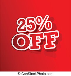 25 percent Off Sticker - illustration of sticker of 25...