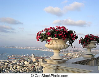 Haifa Bahai Gardens and Haifa Bay - View to Haifa Bay from...