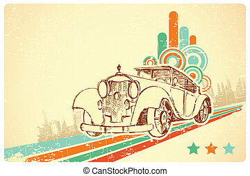 Vintage Car on Retro Background - illustration of vintage...
