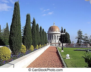 Haifa Bahai Gardens and Golden dome - Alley of cypresses and...