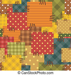 patchwork background with different patterns of fabrics...