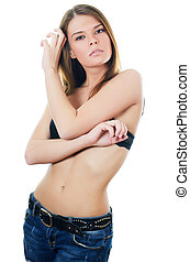 Portrait of the girl in jeans and underwear - Portrait of...