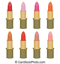 set with lipsticks on white