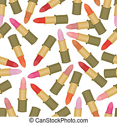 seamless background with lipsticks on white background