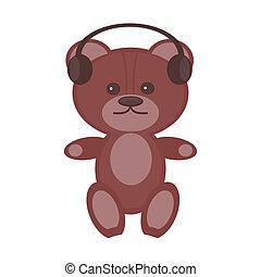 nice teddy bear with headphones