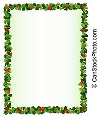 Holly Border - Illustration of a holly and red berry border,...