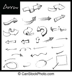 Hand Drawn Arrow - illustration of set of hand drawn sketch...