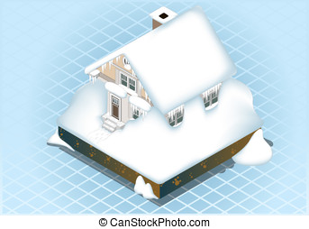 isometric Snow Capped House - Detailed illustration of a...