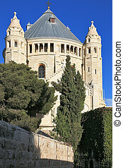 The majestic church of Dormition of the sunset. Jerusalem...