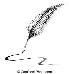 Writing with Feather - illustration of feather making line...