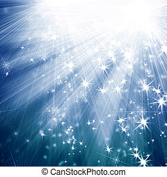 blue background with rays and stars