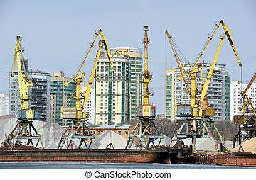 Cranes in the cargo port