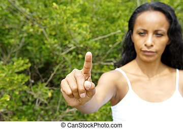 Woman pointing with Finger