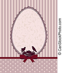 Eggs and birds with lace ornaments