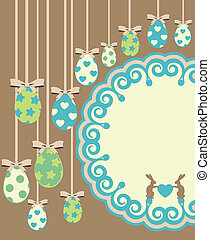 easter card with bunny and eggs - Beautiful easter card with...