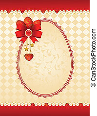 Eggs with lace ornaments on background