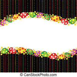 Eggs with lace ornaments on background.