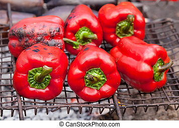 Red grilled pepper on bbq