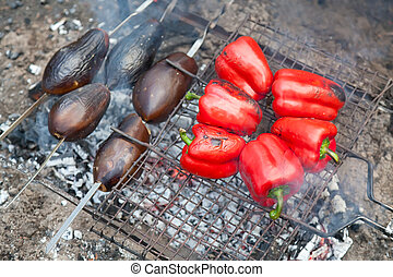 Eggplants and red pepper on bbq grill