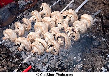 Mushrooms on bbq grill