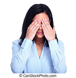 Young shy woman hiding your face. Over white background.