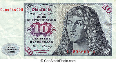 Banknotes in 10 DM 1963. with a portrait of a young man...