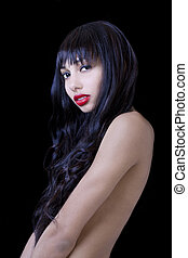 Attractive Young Skinny Black Woman Implied Nude
